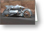Motorcycle Art Greeting Cards - Steam Turbine Cycle Greeting Card by Stuart Swartz
