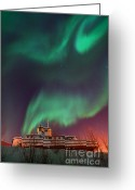 Aurora Borealis Greeting Cards - Steamboat Under Northern Lights Greeting Card by Priska Wettstein