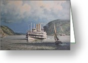River Scenes Greeting Cards - Steamboats on Newburgh Bay William G Muller Greeting Card by Jake Hartz