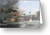 River Scenes Greeting Cards - Steamer Alexander Hamilton William G Muller Greeting Card by Jake Hartz