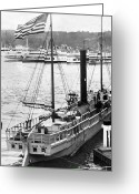 White River Scene Greeting Cards - Steamer in the Hudson River - New York - 1909 Greeting Card by International  Images