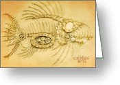Monster Reliefs Greeting Cards - Steamfish 3 Greeting Card by Baron Dixon