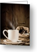 Grains Greeting Cards - Steaming Coffee Greeting Card by Christopher Elwell and Amanda Haselock