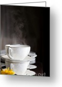 Tea Party Greeting Cards - Steaming Greeting Card by Kati Molin