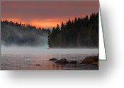 Twilight Greeting Cards - Steaming lake Greeting Card by Evgeni Dinev