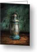 Hurricane Lamps Greeting Cards - Steampunk - An old lantern Greeting Card by Mike Savad