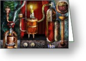 Steampunk Digital Art Greeting Cards - Steampunk - Coffee Break Greeting Card by Mike Savad