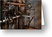 Lever Greeting Cards - Steampunk - Controls - The Steamship control room Greeting Card by Mike Savad