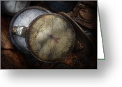 Featured Greeting Cards - Steampunk - Gauge for sale Greeting Card by Mike Savad