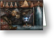 Featured Greeting Cards - Steampunk - Industrial Society Greeting Card by Mike Savad