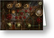 Nightmares Greeting Cards - Steampunk - Plumbing - Job jitters Greeting Card by Mike Savad