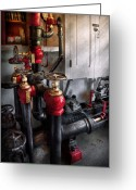 Featured Greeting Cards - Steampunk - Plumbing - Turn the valve  Greeting Card by Mike Savad