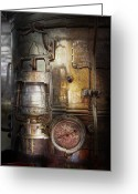 Patina Greeting Cards - Steampunk - Silent into the night Greeting Card by Mike Savad