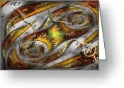 Clock Greeting Cards - Steampunk - Spiral - Space time continuum Greeting Card by Mike Savad