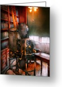 Motion Picture Greeting Cards - Steampunk - The Golden age of Cinema Greeting Card by Mike Savad
