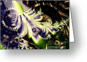 Julia Digital Art Greeting Cards - Steampunk Abstract Fractal . S2 Greeting Card by Wingsdomain Art and Photography