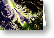 Steampunk Digital Art Greeting Cards - Steampunk Abstract Fractal . Square . S2 Greeting Card by Wingsdomain Art and Photography