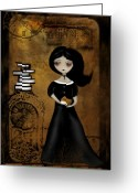 Scale Digital Art Greeting Cards - Steampunk Bibliophile Greeting Card by Charlene Zatloukal