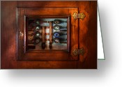 Door Hinges Greeting Cards - Steampunk - Electrical - The fuse panel Greeting Card by Mike Savad