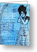 Hand Drawings Greeting Cards - Steampunk Girls in Blues Greeting Card by Nikki Marie Smith