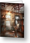 Grinders Greeting Cards - Steampunk - Machinist - The grinding station Greeting Card by Mike Savad