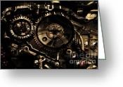 Subculture Greeting Cards - Steampunk Personal Decompression Chamber Model 39875DA78803 Fully Accessorized . Gold Plated Luxury  Greeting Card by Wingsdomain Art and Photography