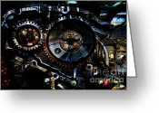 Knobs Greeting Cards - Steampunk Personal Decompression Chamber Model 39875DA78803 Fully Accessorized Greeting Card by Wingsdomain Art and Photography