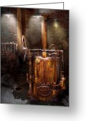 Coal Burner Greeting Cards - Steampunk - Powering the modern home Greeting Card by Mike Savad