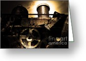 Subculture Greeting Cards - Steampunk Railway Transcontinental Line . Where Steam Is Still King . Gold Version Greeting Card by Wingsdomain Art and Photography