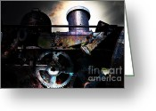 Subculture Greeting Cards - Steampunk Railway Transcontinental Line . Where Steam Is Still King Greeting Card by Wingsdomain Art and Photography