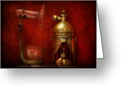 Creation Greeting Cards - Steampunk - The Torch Greeting Card by Mike Savad