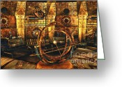 3d Graphic Greeting Cards - Steampunk Time Lab Greeting Card by Jutta Maria Pusl