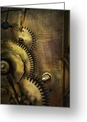 Clock Greeting Cards - Steampunk - Toothy  Greeting Card by Mike Savad