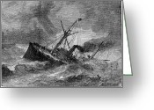 New Britain Greeting Cards - STEAMSHIP ACCIDENT, 1881. /nThe British steamer Roraima aground on the New Jersey coast. Wood engraving, American, 1881 Greeting Card by Granger