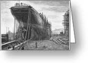 Construction Yard Greeting Cards - Steamship In Yard, 1884 Greeting Card by Granger