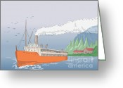 Sea Digital Art Greeting Cards - Steamship Steamboat Vintage Greeting Card by Aloysius Patrimonio