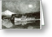 Early Drawings Greeting Cards - Steamship Virginia V Greeting Card by Jack Pumphrey