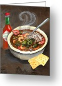 Louisiana Greeting Cards - Steamy Okra Gumbo Greeting Card by Elaine Hodges