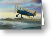 Flying Greeting Cards - Stearman Biplane Greeting Card by Stuart Swartz