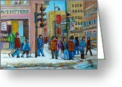 Store Fronts Greeting Cards - Ste.catherine And Peel Streets Greeting Card by Carole Spandau