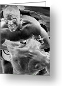 Action Sport Art Greeting Cards - Steel Men Fighting 2 Greeting Card by Frederic A Reinecke