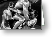 Action Sport Art Greeting Cards - Steel Men Fighting 5 Greeting Card by Frederic A Reinecke