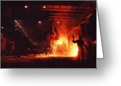 "\""steel Mill\\\"" Greeting Cards - Steel mill--China Greeting Card by Steve Williams"