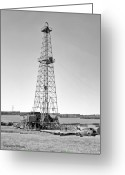 Oklahoma Greeting Cards - Steel Oil Derrick Greeting Card by Larry Keahey