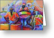 Pan Greeting Cards - Steel Pan Carnival Greeting Card by Cynthia McLean