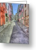 City Street Greeting Cards - Steep Street Greeting Card by Scott Norris