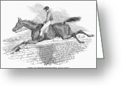 Horserace Greeting Cards - Steeplechase, 1844 Greeting Card by Granger