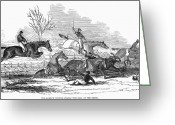 Horserace Greeting Cards - Steeplechase, 1845 Greeting Card by Granger