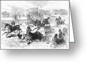 Horserace Greeting Cards - Steeplechase, 1869 Greeting Card by Granger
