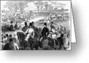 Horserace Greeting Cards - Steeplechase, 1870 Greeting Card by Granger